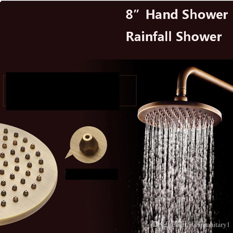 """Dual Cross Handles Wall Mount Rainfall Shower Faucet Sets 8"""" Brass Shower Head + Handheld Shower Antique Brass Finish"""