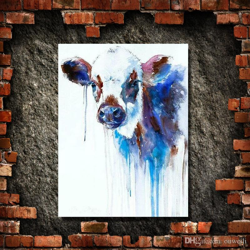 home crafts decoration hand painted knife animal cow oil painting art in high quality multi colors artificial painting