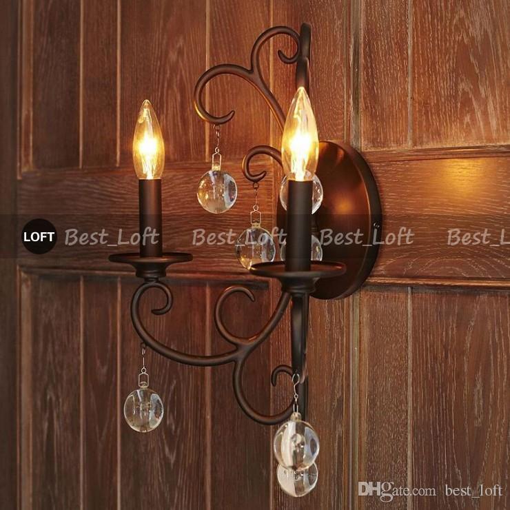 수족관 Bellora Sconce 벽 램프 블랙 메탈 라이트 로프트 산업용 고정물