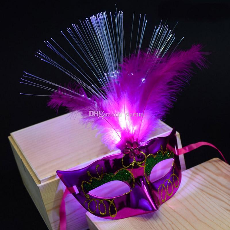 12 Kolor LED Halloween Party Maski Flash świecące Pióro Mask Mardi Gras Masquerade Cosplay Maski Weneckie Halloween Kostiumy Prezent WX9-61