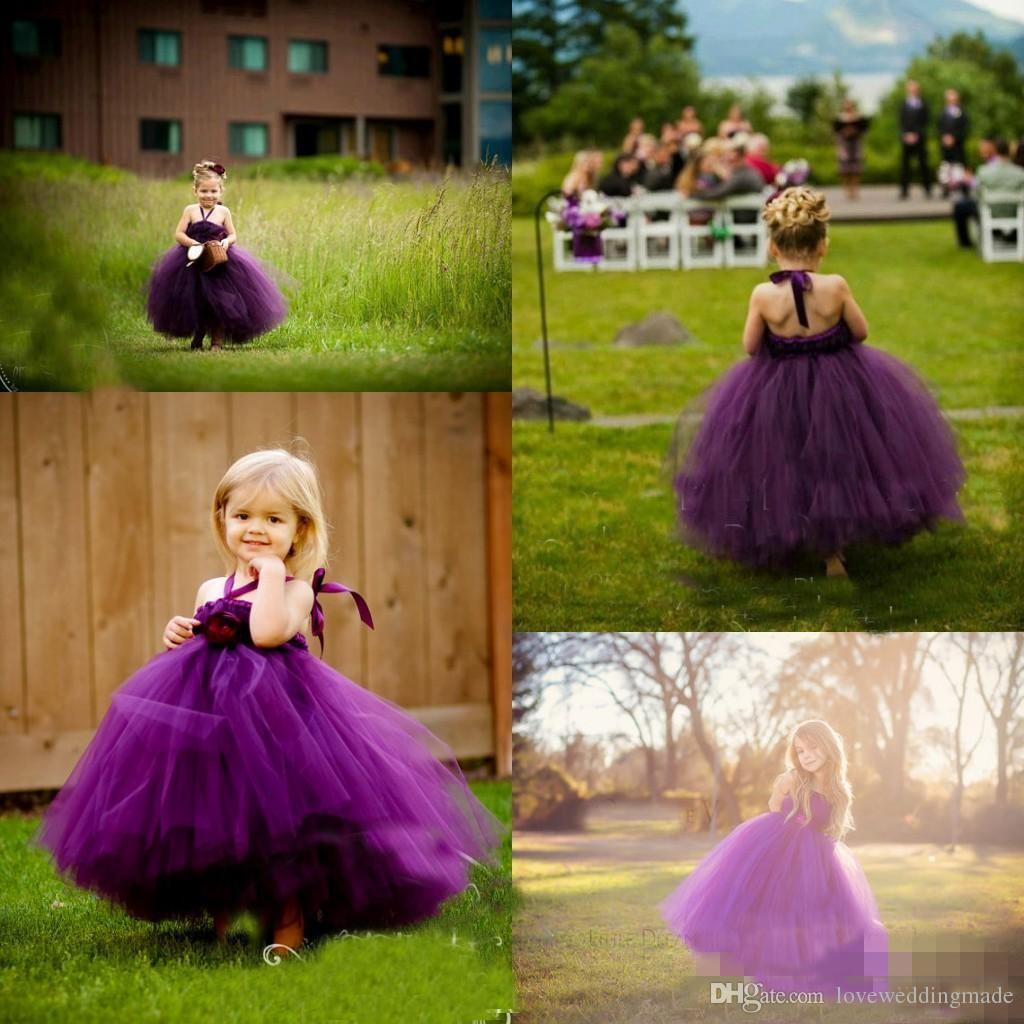 2017 Lovely Baby Toddler Grape Tutu Ball Gowns Flower Girls Dresses For Wedding Party Birthday Tulle Halter Kids Pageant Gowns