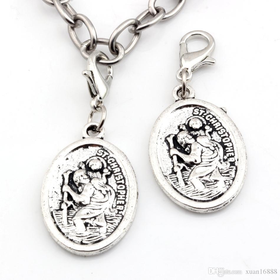 Heiß ! antike silberne Legierung ST Christopher Charms Hummer Verschluss Anhänger 16.5X 40MM DIY JewelryJewelry