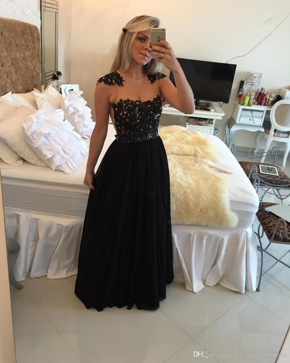 Lindo preto longo vestidos de baile jóias decote sheers em tule ver através do vestido de baile vestidos para festa vestidos formais