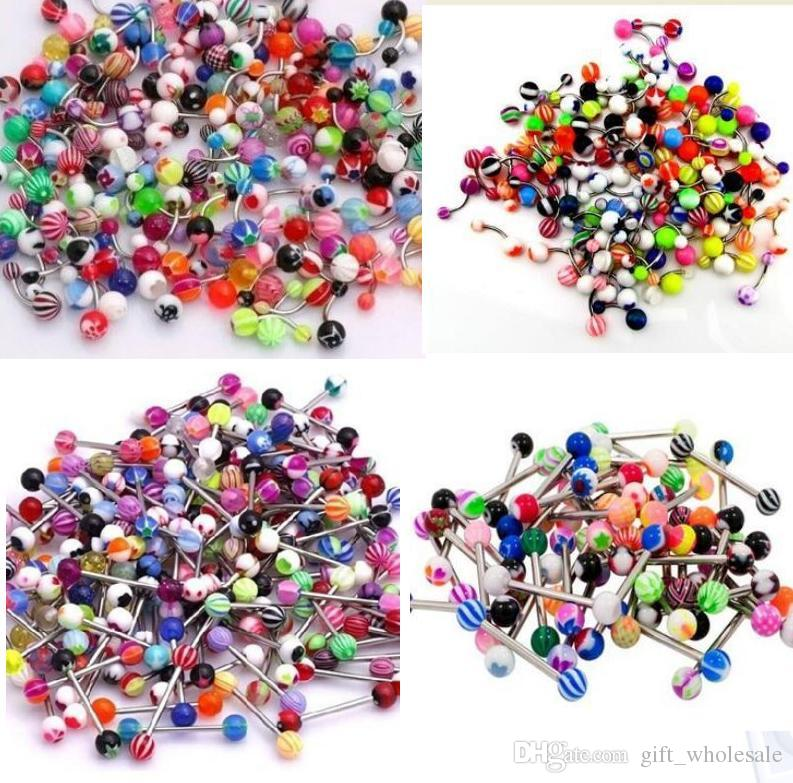 Tongue and Belly Ring bar 50pcs/lot mix color uv acrylic body piercing jewelry tongue barbell ring