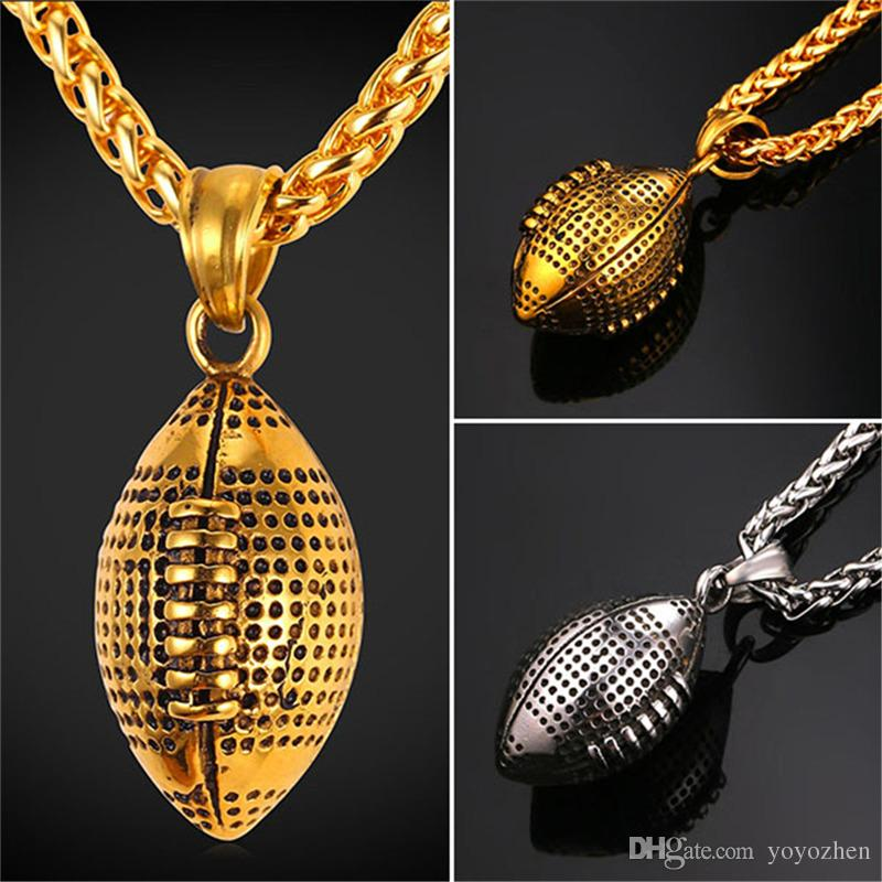 Wholesale high quality 316l stainless steel football pendant wholesale high quality 316l stainless steel football pendant necklace for womenmen 18k real gold plated rugby necklaces lariat necklace personalized aloadofball Image collections