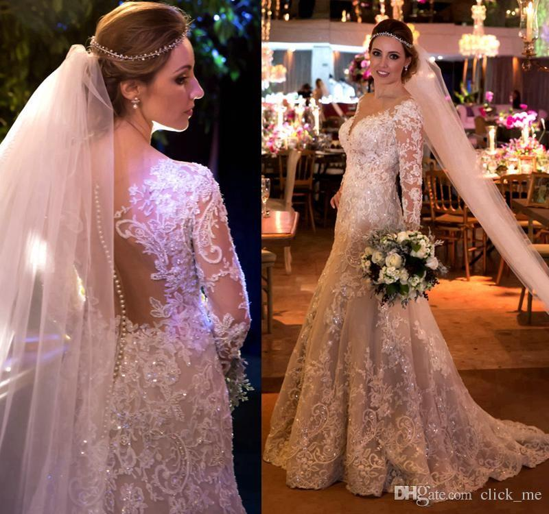 Vintage Mermaid Lace Wedding Dresses With Appliques Sequins Long Sleeves Wedding Gowns Sweep Train Sheer Back Covered Buttons Bridal Dress