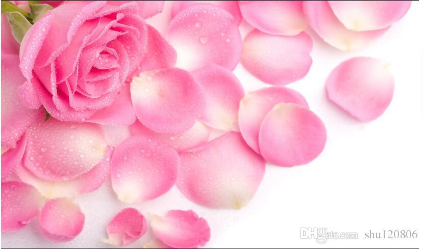 Papel pintado 3d foto personalizada no tejido mural flores modernas rosa pétalos de rosa decoración pintura cuadro 3d pared habitación murales fondo de pantalla