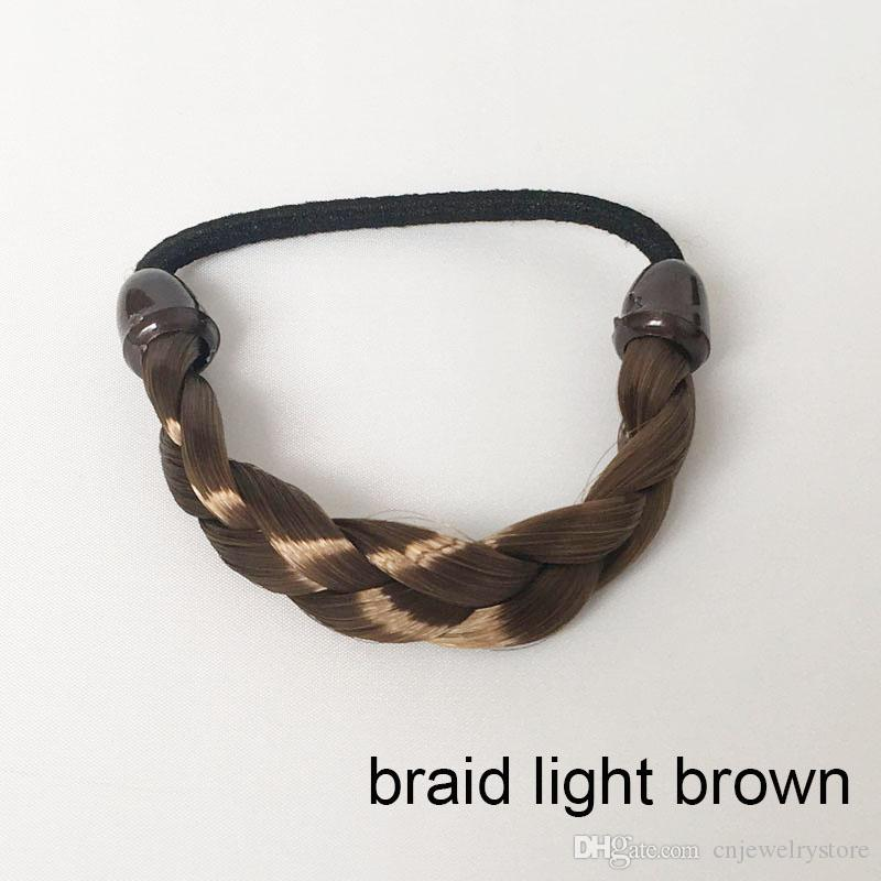 Venda quente das Mulheres Elastic Acessórios Para o Cabelo Trançado Trançado Sintético Elástico Rabo de Cavalo Titular Scrunchies Hairband Atacado