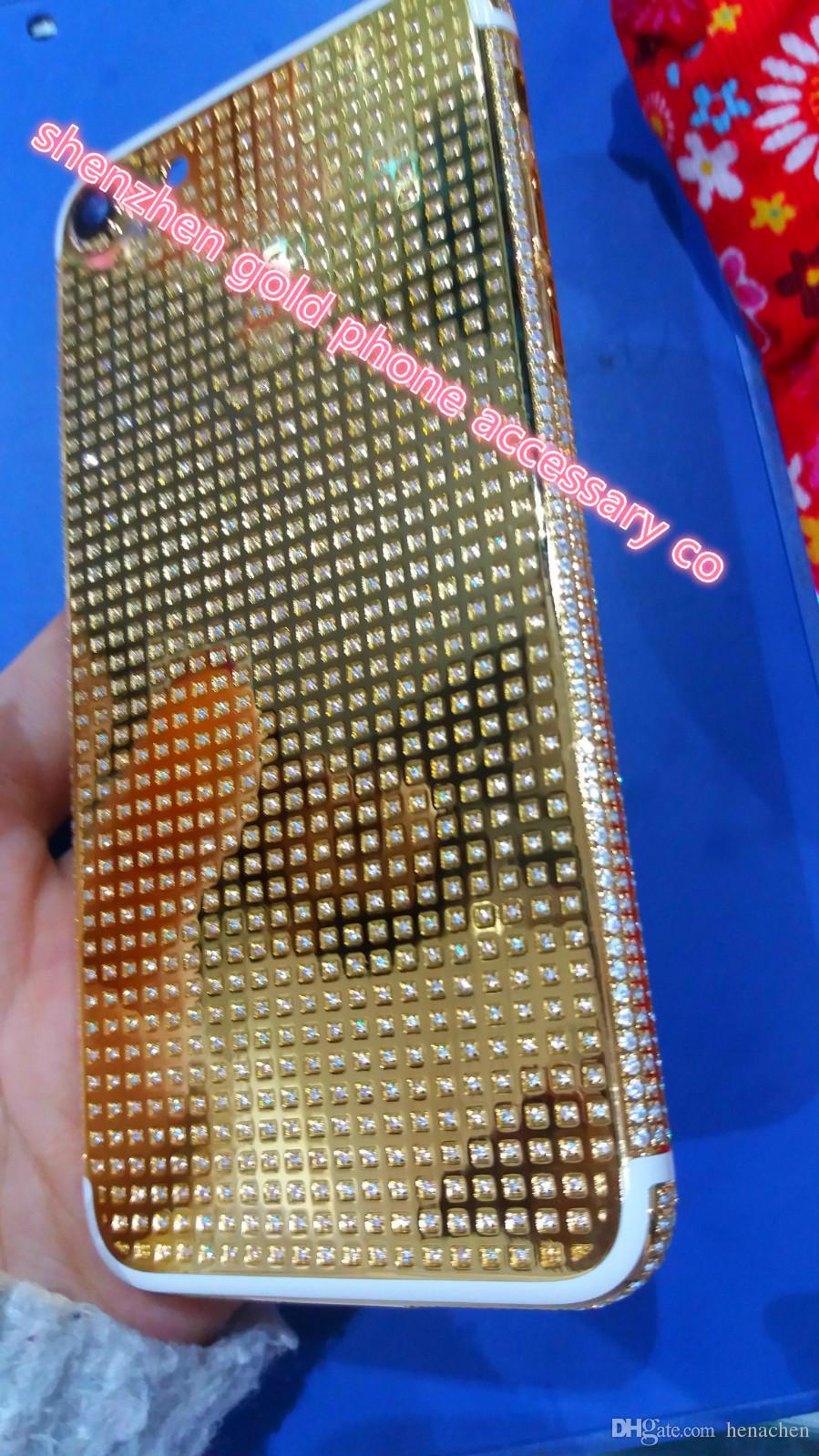 La mayoría de las carcasas de diamantes con diseño de lujo para iphone7 24K 24CT 24KT Espejo GOLD Full Diamond Crystals Contraportada Carcasa Marco intermedio