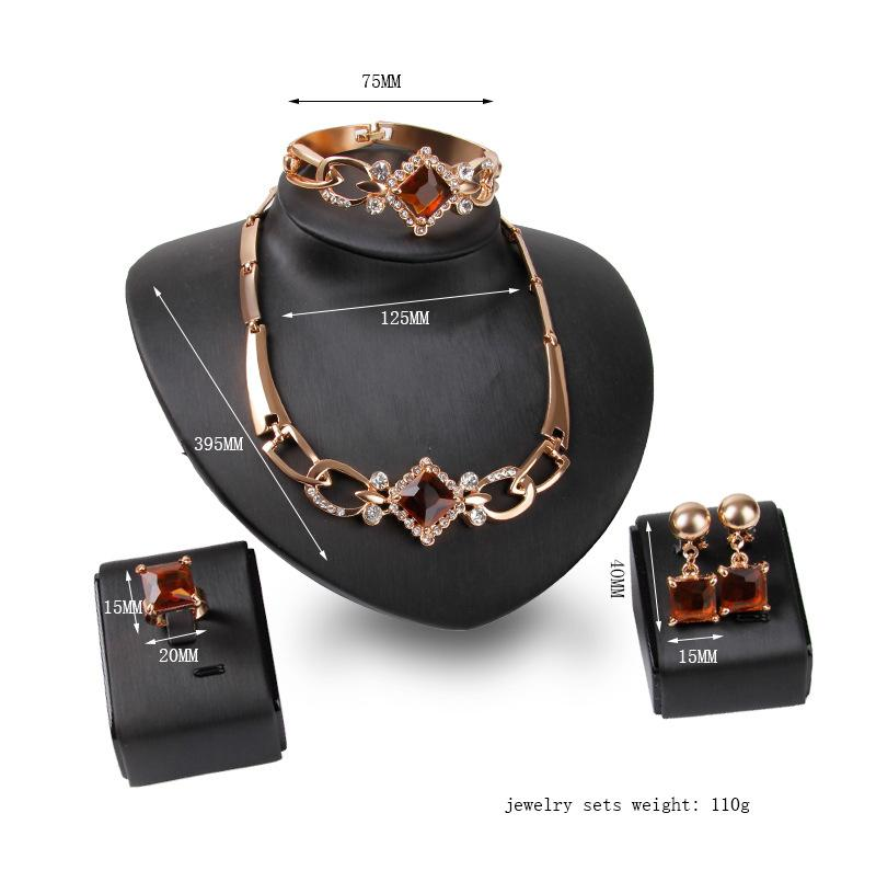 Punk Wedding Jewelry Sets Charm Red Gem Exaggerated Necklace Earrings Bracelet Ring Set For Women Best Gift 61154222