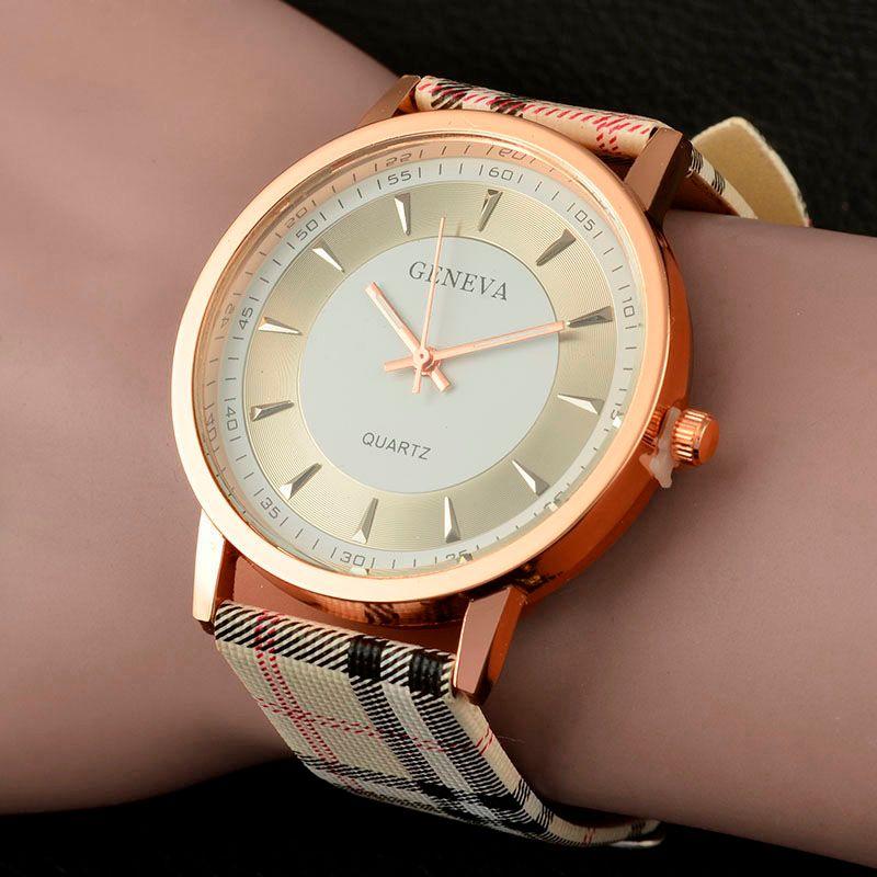 bdf89e537328 Compre 2016 Nueva Marca Ginebra Reloj Mujer Relojes Mujeres Reloj De Cuarzo  Reloj De Cuero A Cuadros Señoras Reloj De Moda Cuarzo Reloj A  6.02 Del  Wja3310 ...