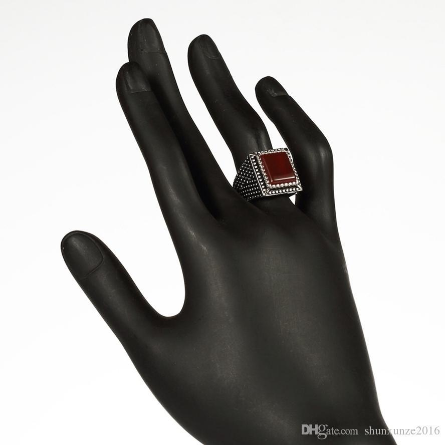 925 Sterling Silber Schmuck Ringe rot Achat Bestseller S - 3806 sz # 7 8 9 10 begeisterte Bewertungen Romantic Style Frauen Schmuck Geschenk