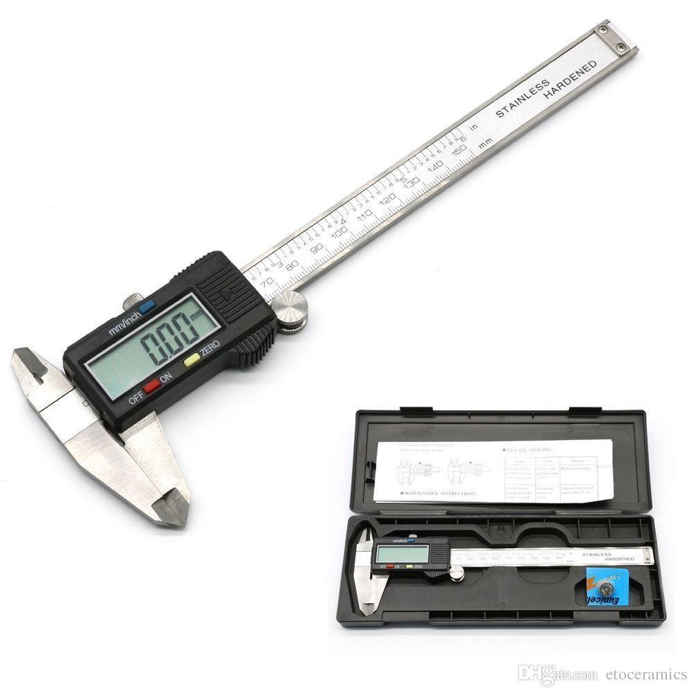 디지털 마이크로 미터 새로운 6 인치 150mm 스테인리스 디지털 캘리퍼스 버니어 게이지 마이크로 미터 Paquimetro 전자 측정 도구 프로모션