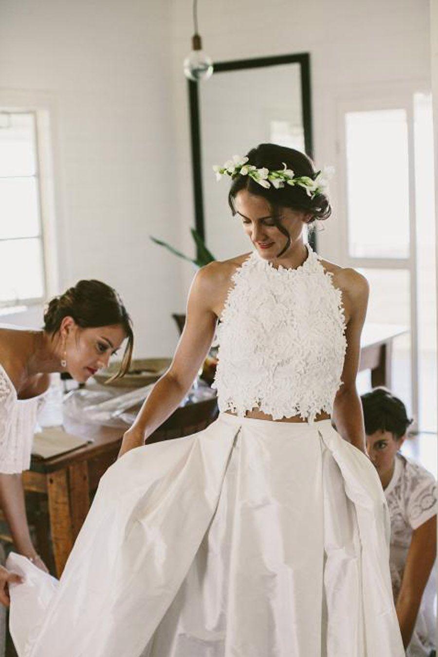Discount Amazing Beach Wedding Gowns Lace Crop Top Taffeta Skirt Modern  Bridal Dress Wedding Dresses Robe De Mariee Halter Vestido De Noiva  Beautiful ... 63b6099b00dc
