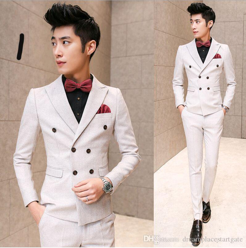2018 Korean Italian Ivory Mens Tuxedo Suits Wedding Suits For Men ...