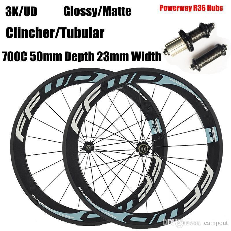 7742c746ecd FFWD 50mm Carbon Wheelset Road Bicycle Wheels Powerway R36 Hubs Full Carbon  Fiber Bike Wheel Clincher Tubular 3K UD Mountain Bike Wheel Sets Best Value  Road ...