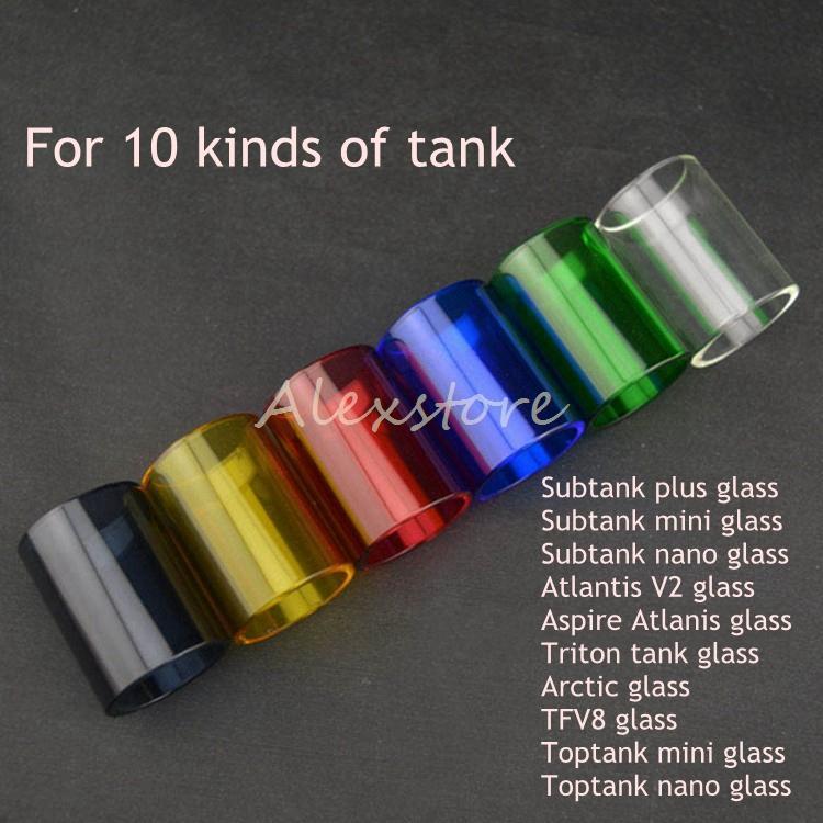 Colorful Pyrex Glass Tube Replacement Caps for Kanger Subtank Toptank Mini Nano Plus Aspire Triton Atlantis 2 Arctic TFV8 Tank Part