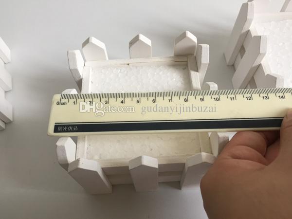 D10 * H7CM / D4 * h2.8 polegada cerca de madeira branca plantador de madeira pote Mini cerca pequena cerca de decoração para casa SF-085