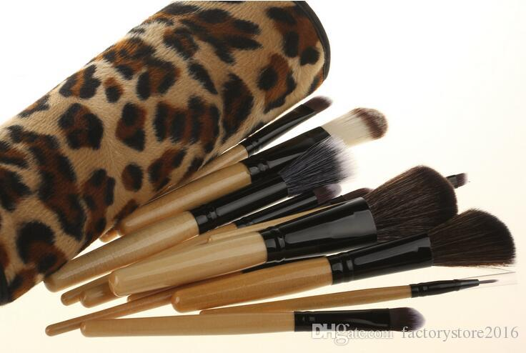 Leopard Makeup Brushes Cosmetics Foundation Blush Eyeshadow Brushes Kit Girls Women Facial Care Beauty Tools with Bag Case