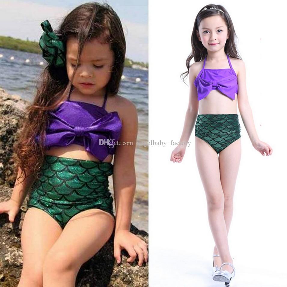 2019 Baby Girls Mermaid Swimwear Set Children Big Bow Swimsuit Kids