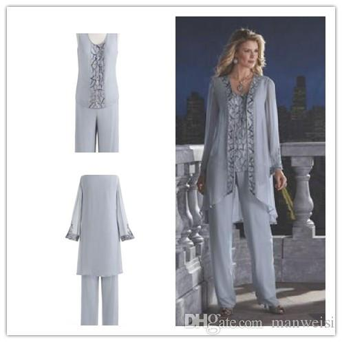 2016 Mother Of The Bride Pant Suit Chiffon Beach Wedding Mother\'S ...