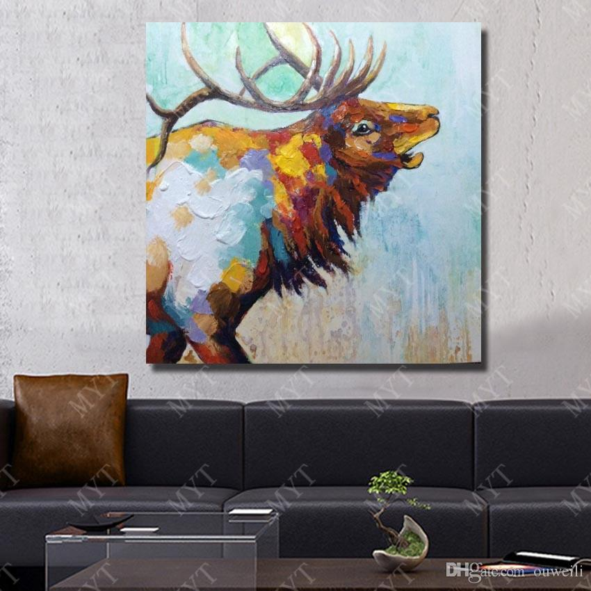 Canvas oil painting hand painted abstract home wall decor animal strong deer oil painting