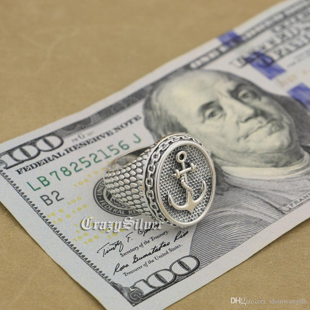 925 Sterling Silber Anker Kette Herren Biker Rocker Punk Ring 9W023 US-Größe 7 ~ 15