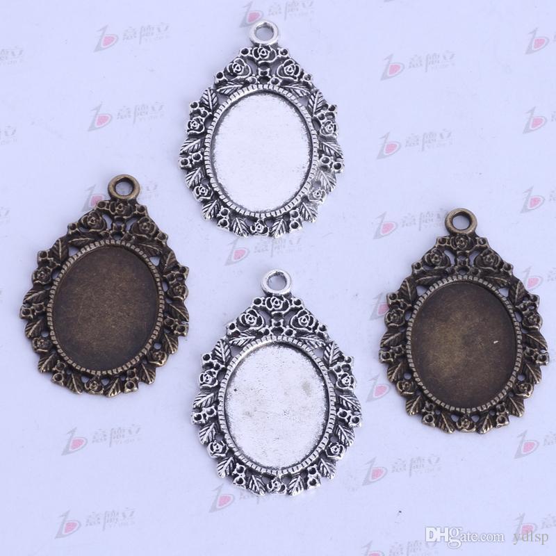 44 * 28.9 * 1.7mm ronda base de corcho amuletos vintage antiguo Plata / aleación de bronce colgante de zinc colgante de joyería de DIY Collar 50 unids / lote 2594