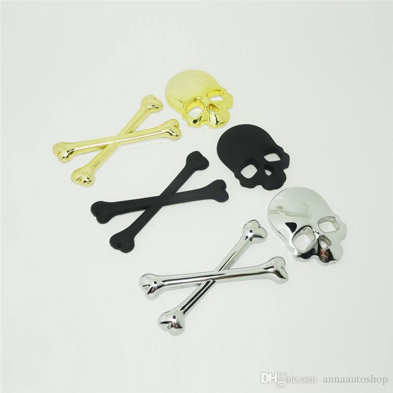 Mischievous X Skeleton Car Stickers for Cars Cartoon Unique Door Car Decals with Black Gold Silver