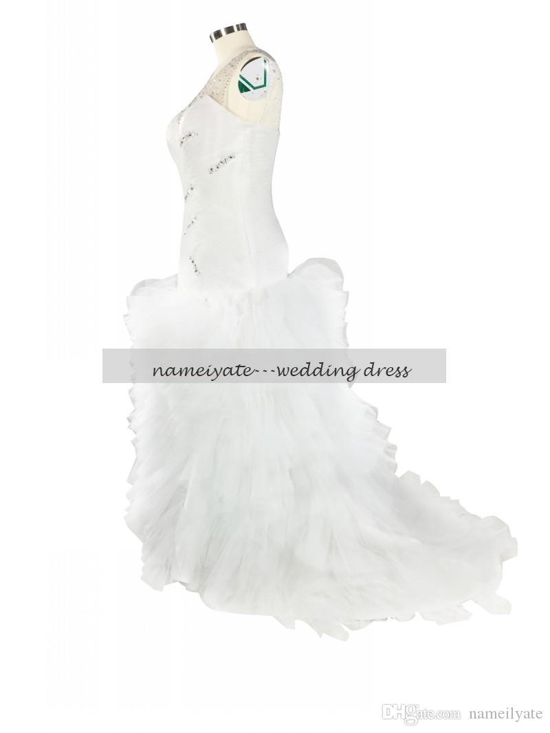 2017 White Mermaid Lace Crew Lace-up Court Train Bridal Dress Sleeveless Rhinestone Tiered Vestidos De Noiva Plus Size Gown Wedding Dresses