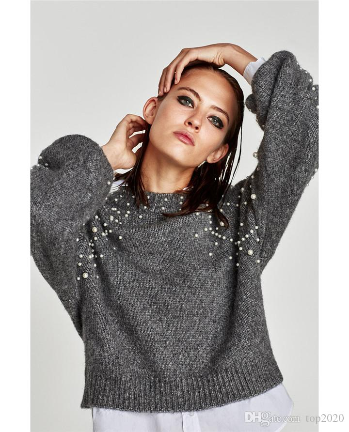 Women Pearl wool long-sleeved sexy ultra-short sweat classic Luxury famous fashion brand top quality Sports sweater