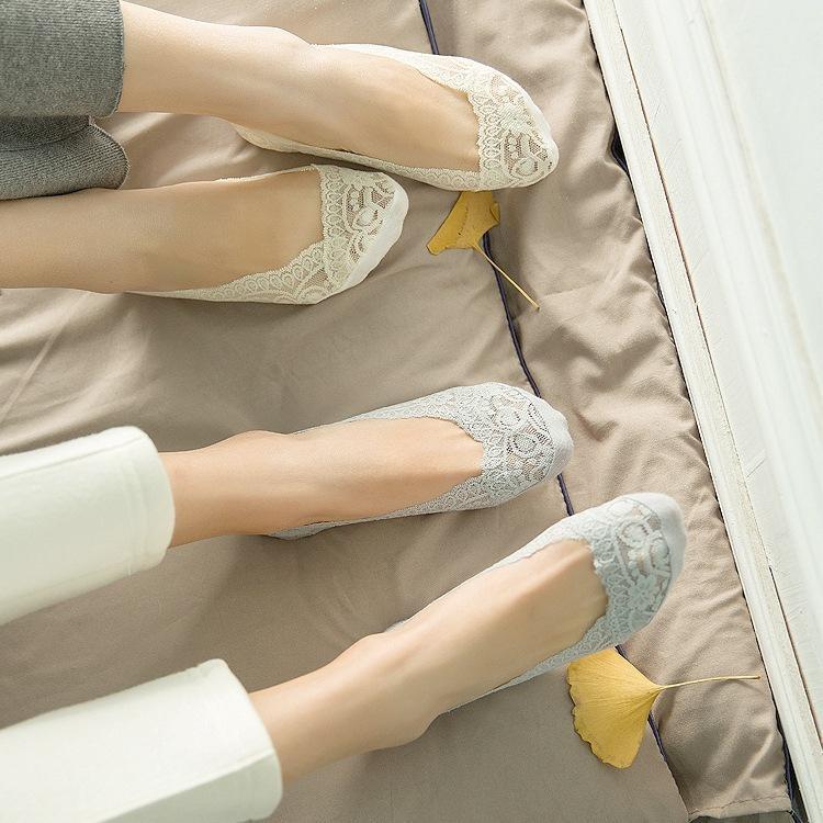 Корейские носки для женщин Мода Кружева Противоскользящих Невидимого Liner Low Cut носки летней девушка Носок тапочек