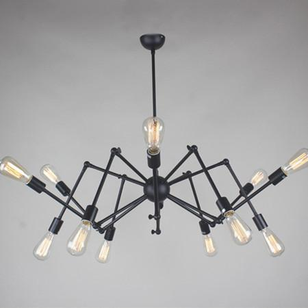 High Quality Shopcase Bar Art Decor Black Spider Lamp E27 Edison Bulb Iron Pendant Lights  Luz Children Room Dining Room Foldable Leg Vintage Spider Light Decorative  ...