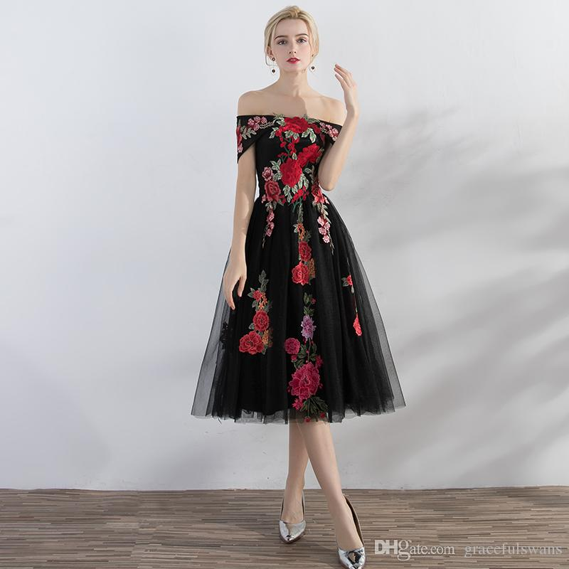Off Shoulder Tea Length Gray Prom Dresses Red Embroidery Fashionable ...