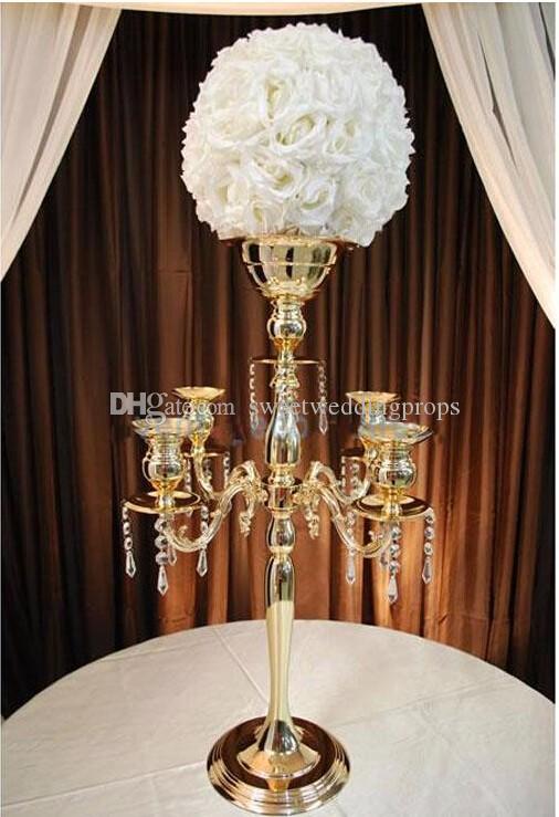 altın, demir 75cm * W48cm, altın 5 Başkanları Kristal Mumluk, Mumluk, düğün Centrepiece, küpeli çiçek kase Mumluk