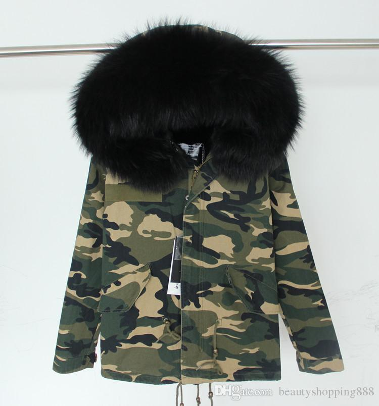 Women's winter warm real raccoon fur collar hooded faux fur liner thickening camouflage military print short parka coat plus size casacos