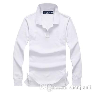 Ücretsiz Kargo 2017 sonbahar ve kış yeni yüksek kaliteli erkek moda uzun kollu POLO gömlek gündelik erkek POLO gömlek uzun kollu boyut S-XXL