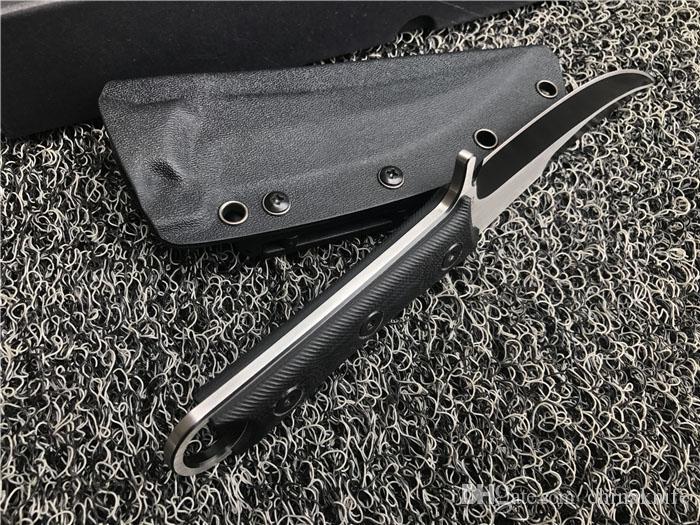 Fijo de calidad superior de la manija de la hoja del machete D2 Titanio hoja CNC Negro G10 cuchillo de la garra de Karambit acampar al aire libre engranaje táctico