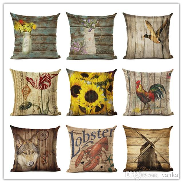 Retro Painting Animal Plant Pattern Cotton Linen Cushion Cover New Style  Pillowcase Home Decor Bed Car Throw Pillows Decorative Cojines Red Patio  Chair ...
