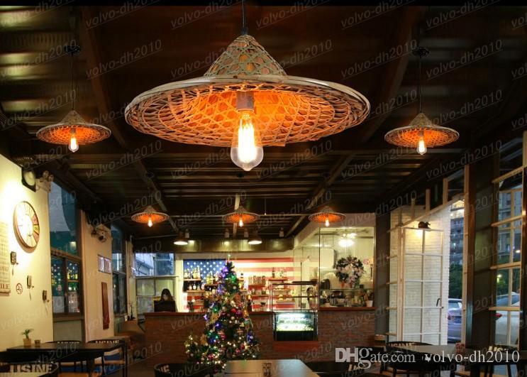 Ventas libres del envío personalidad creativa pote caliente restaurante bar sombreros Vintage ratán lámpara lámpara de bambú LLFA11