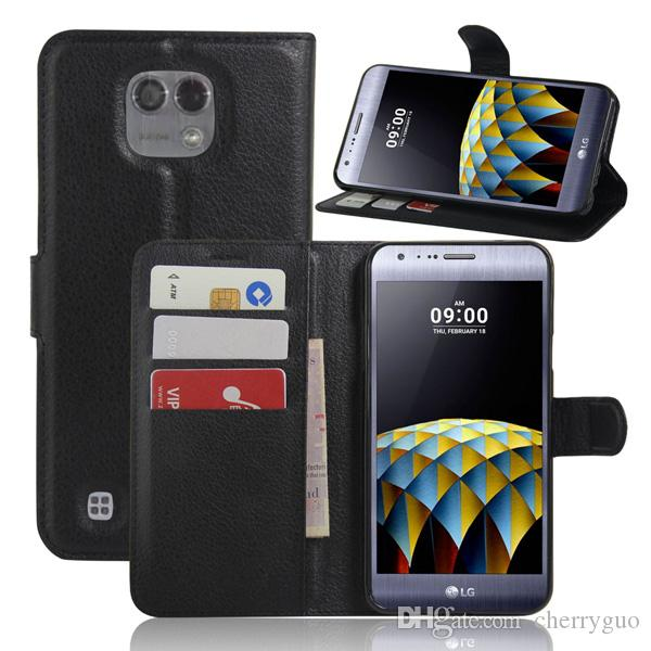 Phone Case For LG X Cam, Litchi Pattern PU Leather Wallet Stand Case Cover with Card Slot