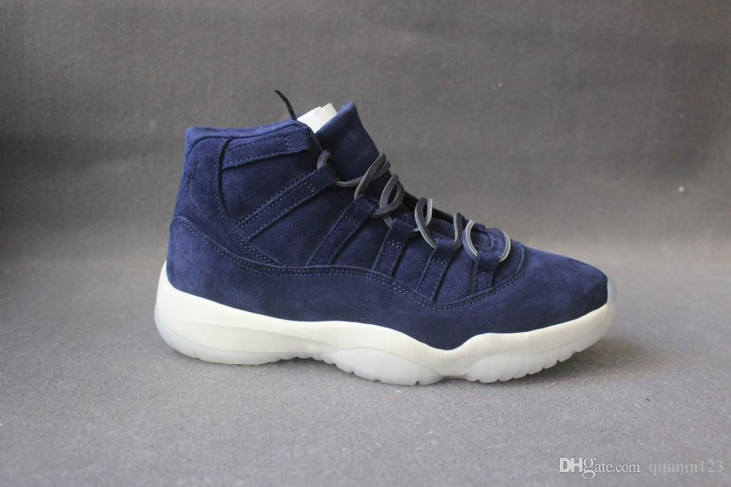 a4c2b84a9a6 New With Box 11 XI PRM Jeter Dark Blue Suede Men Basketball Shoes Sports  Sneaker Trainers Best Box Size 7 13 Cheap Shoes 4e Basketball Shoes From  Qinmin123, ...