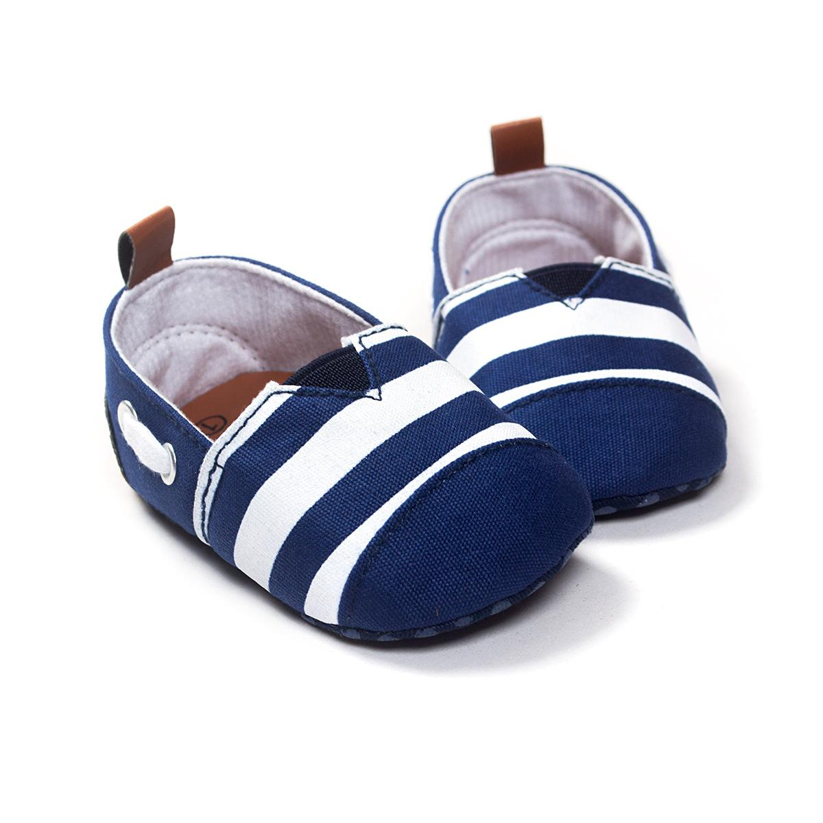 5e687b97bd2 2019 Strip Boy Soft Sole Baby Shoes Moccasins Baby First Walkers Toddlers  Sneakers Infant Shoes Brand Boys Kids Footwear Navy Blue From Rh baby