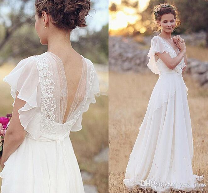 Short Sleeve Lace Wedding Dresses 2016 Chiffon Simple: Discount 2016 Country Bohemia A Line Wedding Dresses V