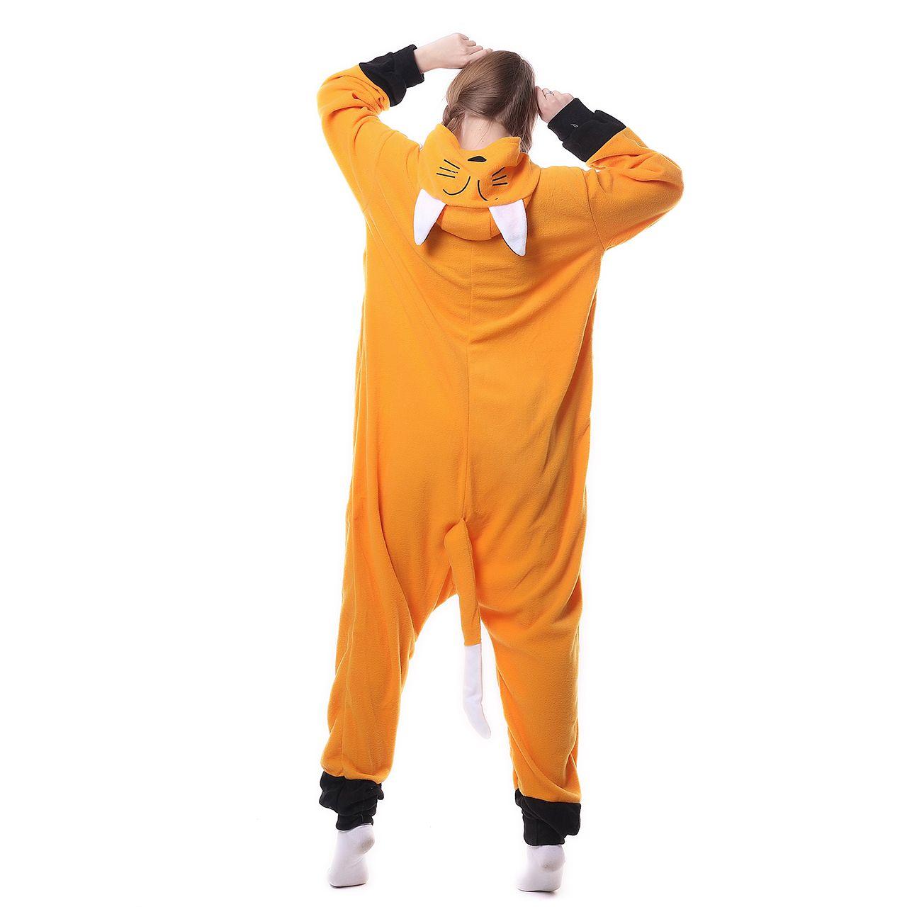 2017 Lady Adult Hooded Animal Pigiama Orange Fox Winter Pigiama Set Fleece Home Sleep Wear Abbigliamento Cosplay Halloween
