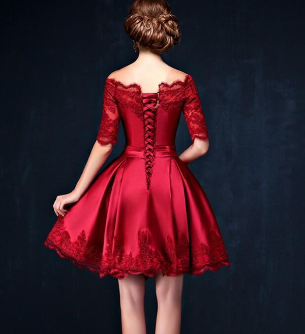 다크 레드 짧은 댄스 파티 드레스 라인 쉬어 BATEAU 목선 환상 포켓 레이스 슬리브 홈 커밍 졸업 파티 드레스
