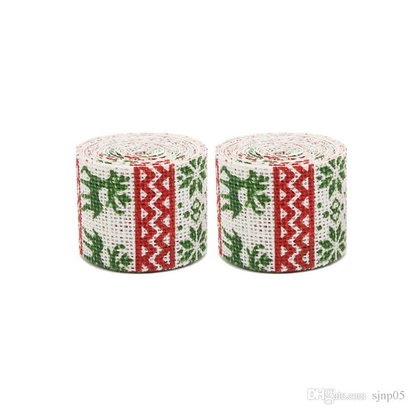 Sika Deer Flower Tree Printing Natural Vintage Jute Hessian Burlap Ribbon Rustic Wedding Chair Belt DIY Christmas Party Decor Supplies
