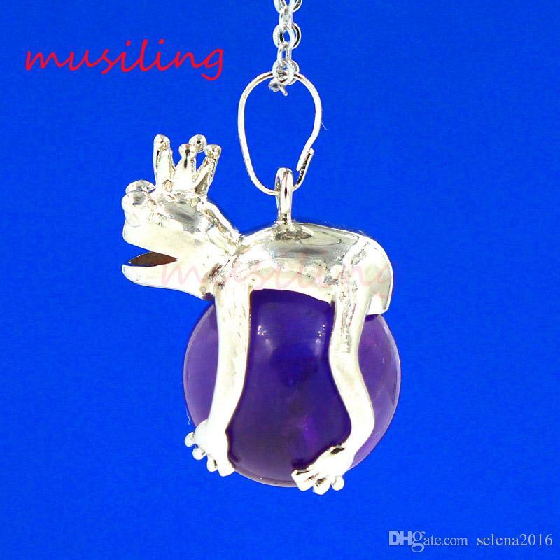 2016 Hot Crown Pendulum Frog Prince Bead Various Natural Gem Stone Pendant Accessories European Fashion Jewelry Reiki Amulet 27X