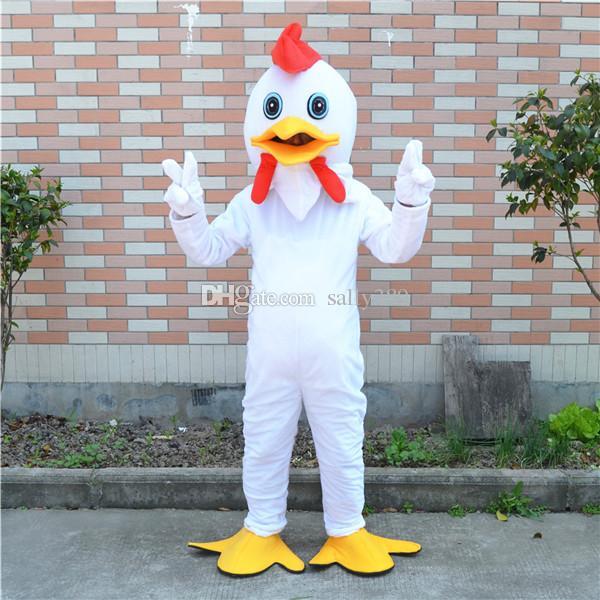 Frango branco mascote traje da mascote dos desenhos animados personalizado cosply adulto tamanho carnaval traje de natal e festa de halloween fancy dress