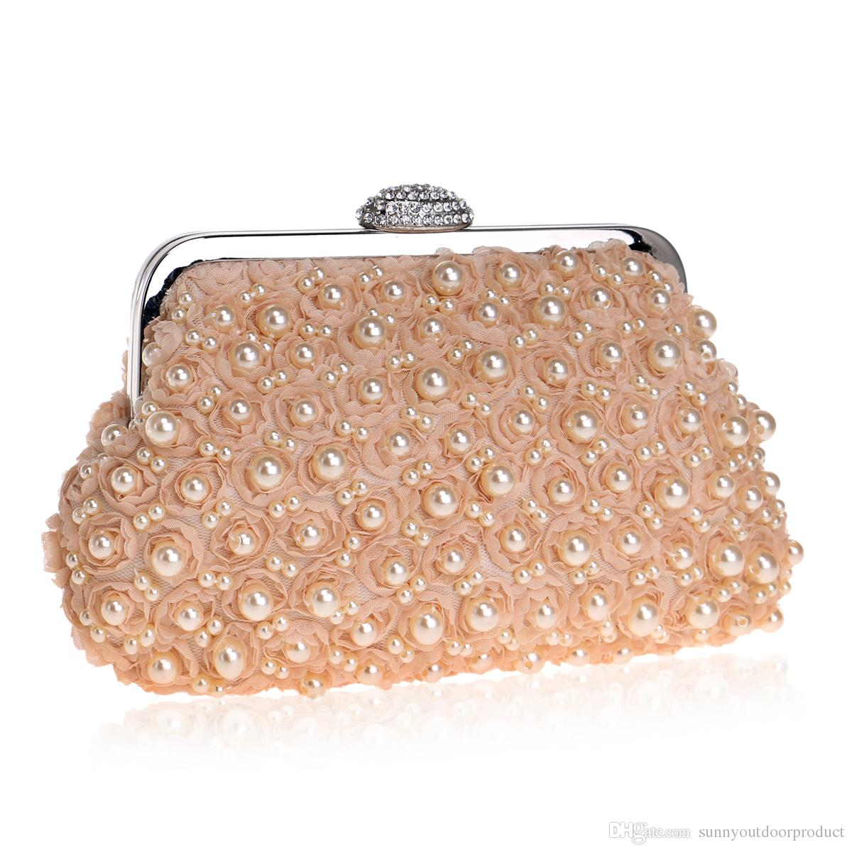 50a7060469e New Fashion Women Pearl Beaded Lace Rose Evening Bag Lady Bridal Rhinestone Clutch  Bag Shoulder Bag Handbag Wallet Purse For Wedding Party Gold Clutch ...